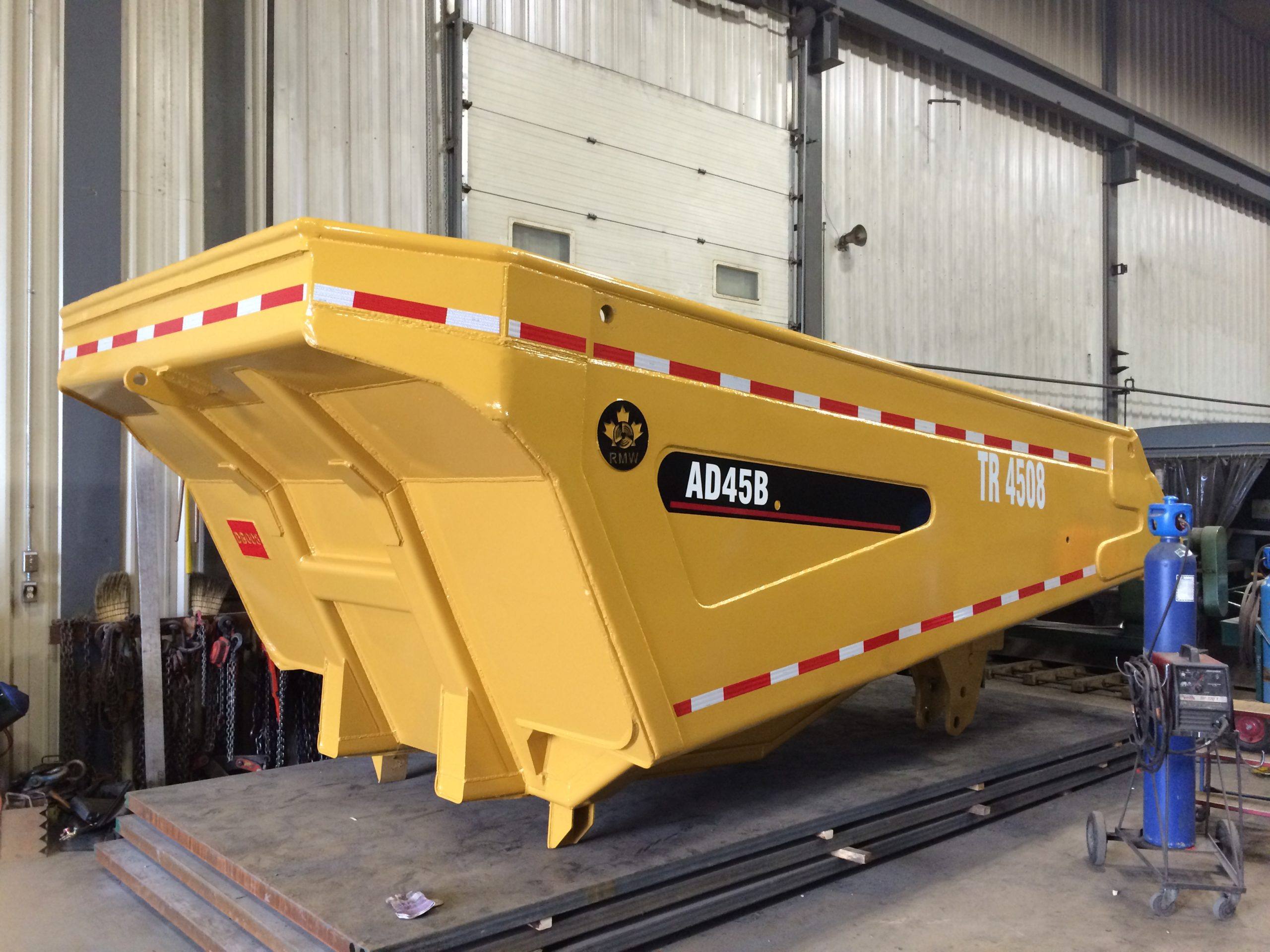 Rebuilt and relined Caterpillar dump box for Newmont (Musselwhite Mine)